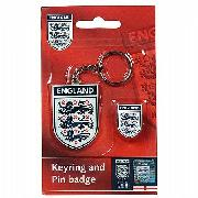 Official Team England Keyring and Badge Set