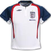 England Bench Poly Polo Shirt - White/Bright Navy/Vermillion - Kids