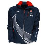 England Rugby Rain Jacket - Obsidian/White