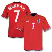 02-03 England Away Shirt + No.7 Beckham