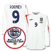 05-07 England Home L/S Shirt + Germany Wc2006 Emb + No.9 Rooney