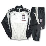 07-08 England Bench Woven Suit - Boys - Dark Grey/White/Light Grey