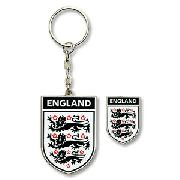 England Crest Keyring and Pin Badge Set