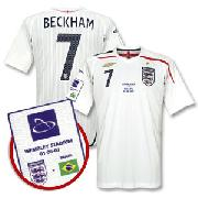 Wembley Opening International Match England Home Shirt + Beckham No.7